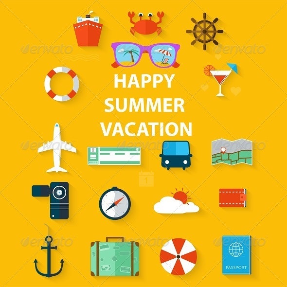 Icons Summer Vacation in a Flat Style  - Travel Conceptual