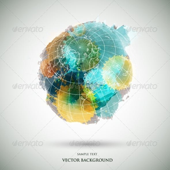Vector Grunge Watercolor Colored Earth