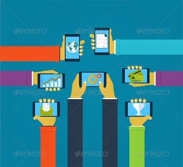 Interaction Hands Using Mobile Apps - Conceptual Vectors