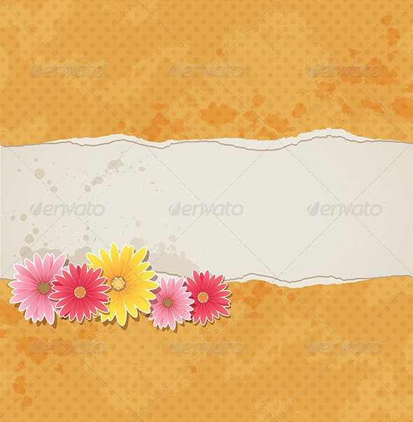Background with Flowers and Torn Paper - Backgrounds Decorative