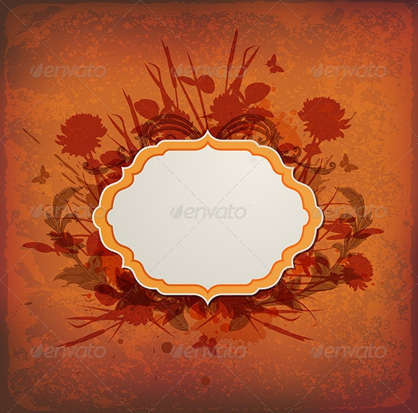 Vintage Background with Label and Flowers - Backgrounds Decorative