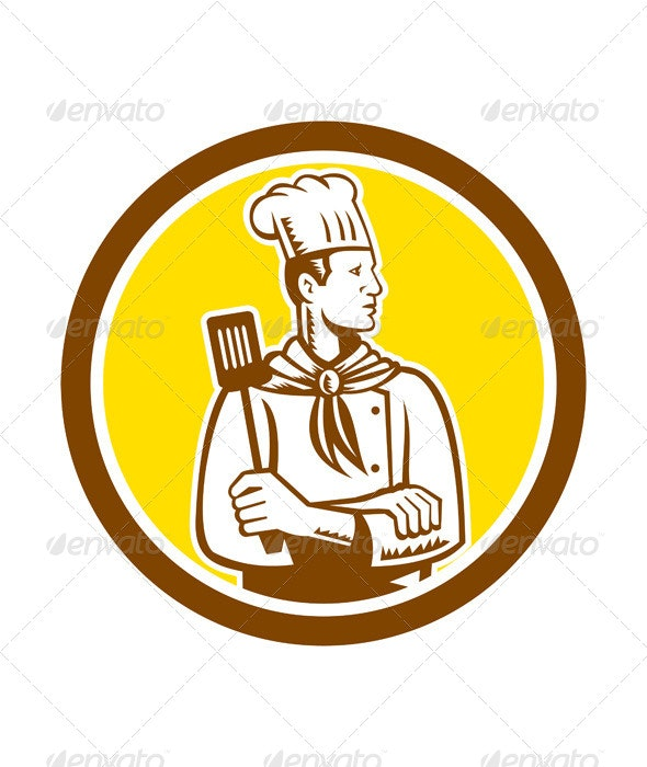 Chef with Spatula Circle - People Characters