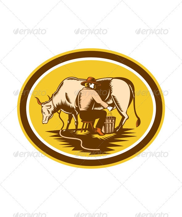 Farmer Milking Cow Oval Woodcut - People Characters