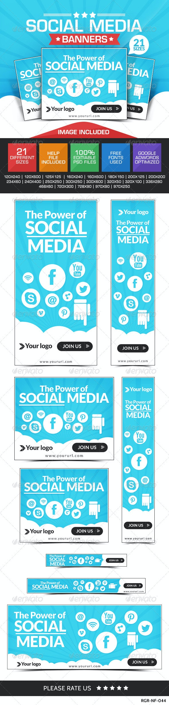 Social Media Marketing Banners - Banners & Ads Web Elements