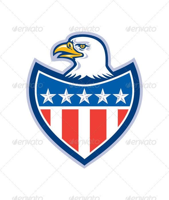 American Bald Eagle Retro Flag Shield  - Animals Characters