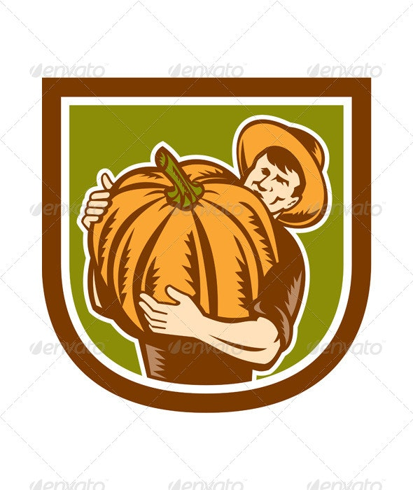 Organic Farmer Holding Pumpkin Retro Shield  - People Characters