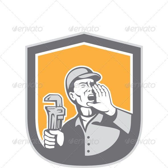 Plumber Shouting Holding Wrench Retro Shield