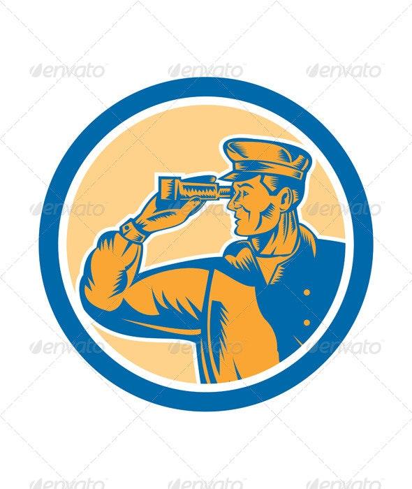Fisherman Sea Captain Binoculars Retro Circle  - People Characters