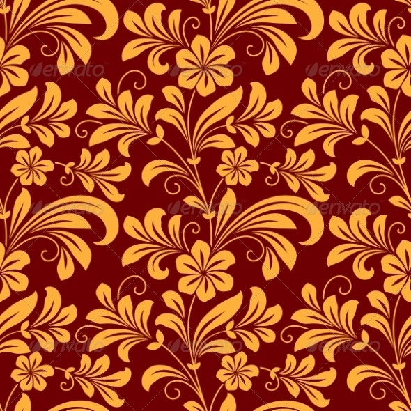 Yellow Colored Floral Seamless Pattern - Patterns Decorative