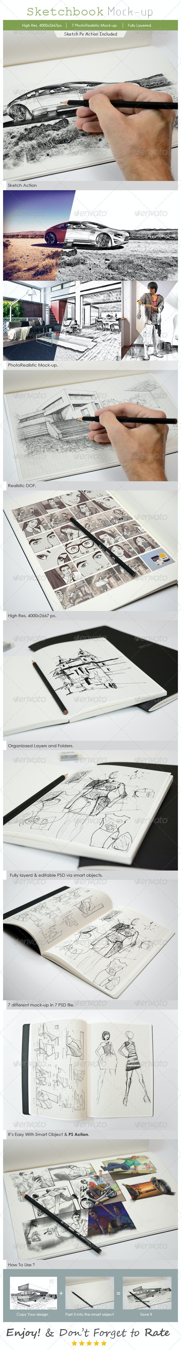 Sketchbook Mockup - Books Print