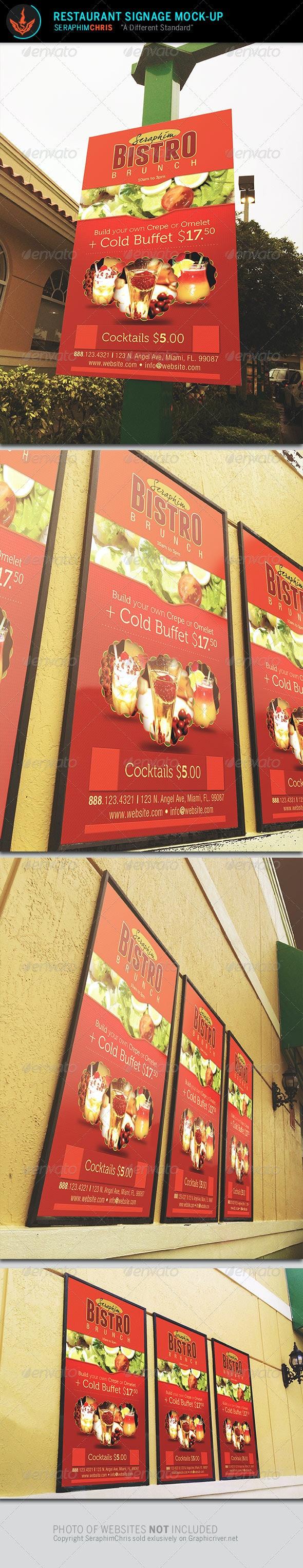 Restaurant Signage Mock Up Template - Signage Print