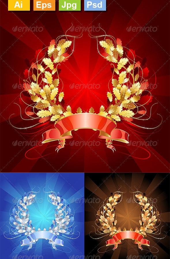 Oak Wreaths - Decorative Vectors