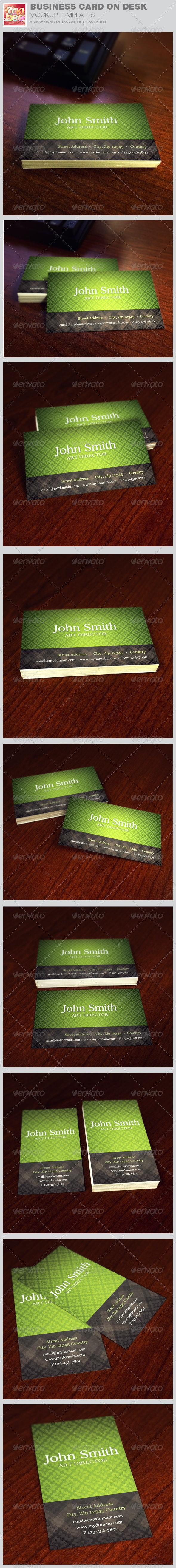 Business Card on Desk Mockup Templates - Business Cards Print