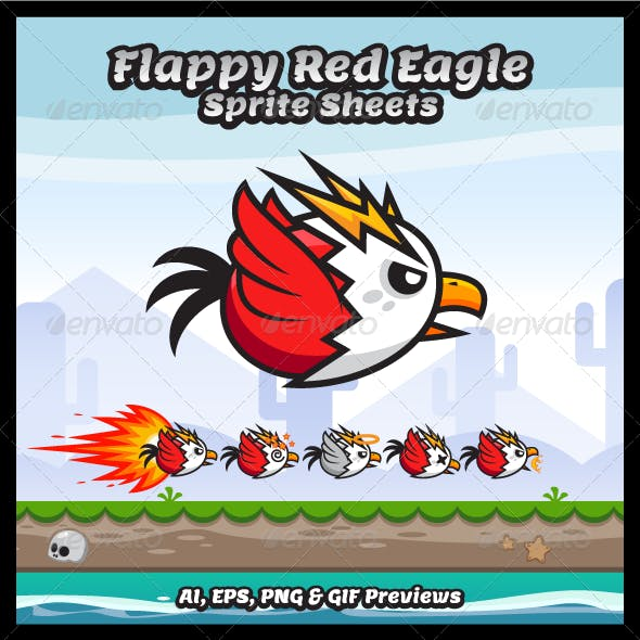 Flappy Red Eagle Game Character Sprite Sheets