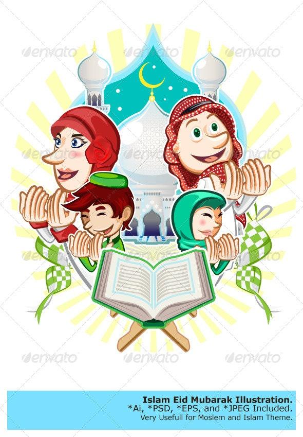 Islam Eid Mubarak Greeting Card Illustration - Religion Conceptual