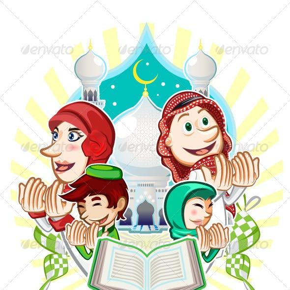 Islam Eid Mubarak Greeting Card Illustration