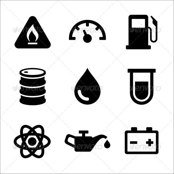Gasoline Diesel Fuel Service Station Icons Set