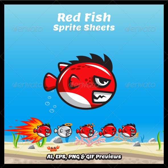 Red Fish Game Character Sprite Sheets