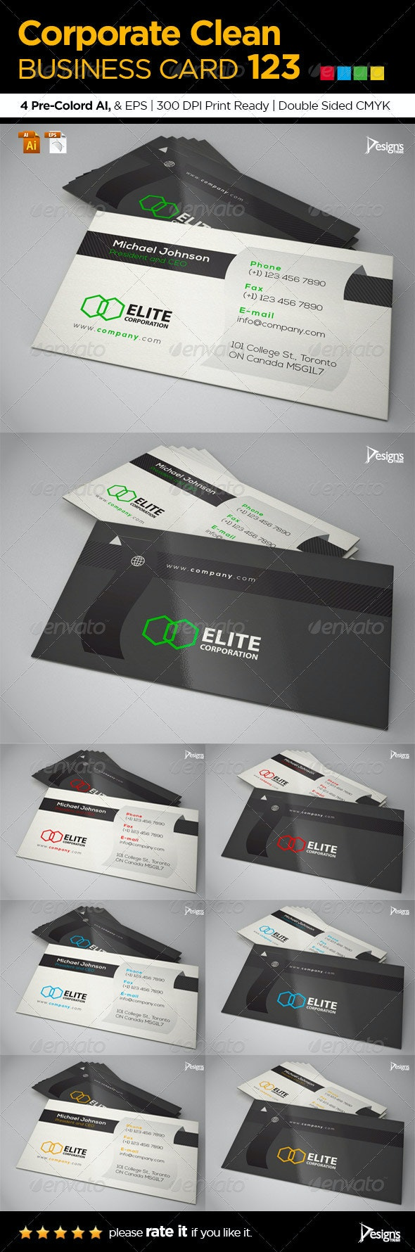 Simple and Clean Business Card 123 - Corporate Business Cards