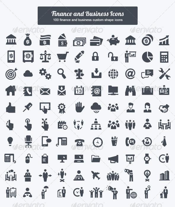 Finance and Business Custom Shape Icons - Shapes Photoshop