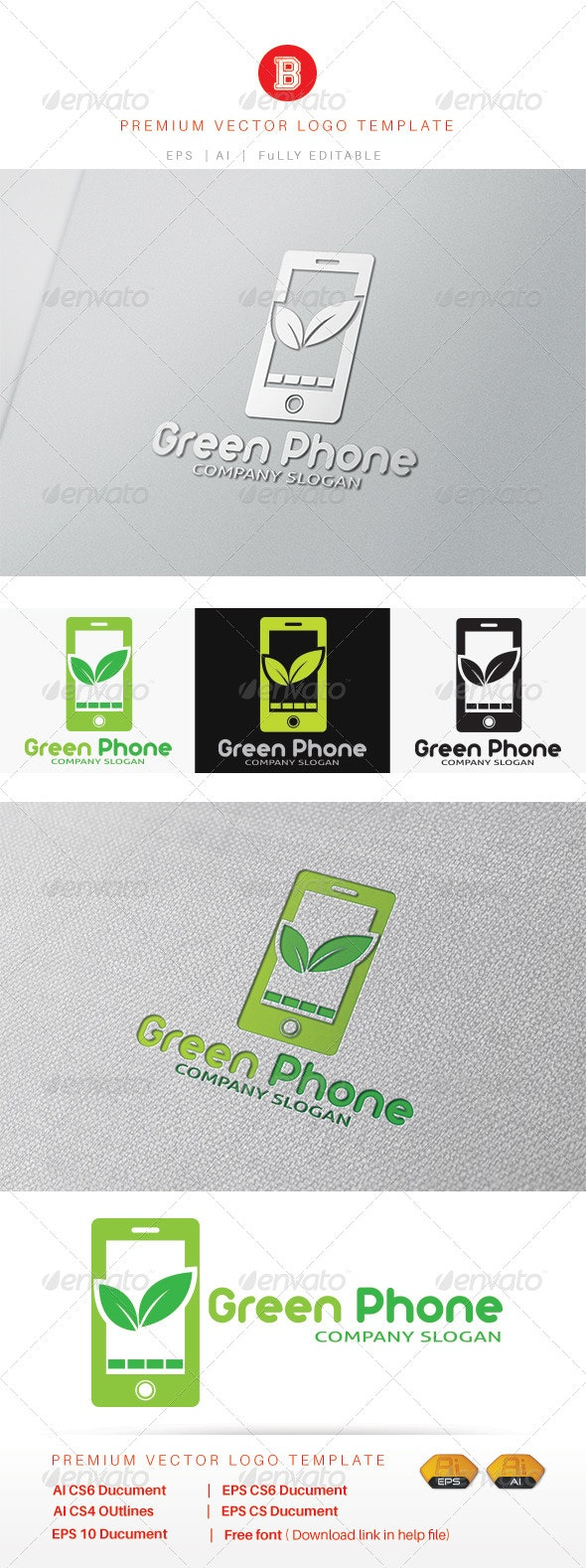 Green Phone - Objects Logo Templates