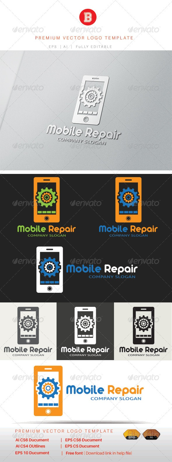 Mobile Repair - Objects Logo Templates