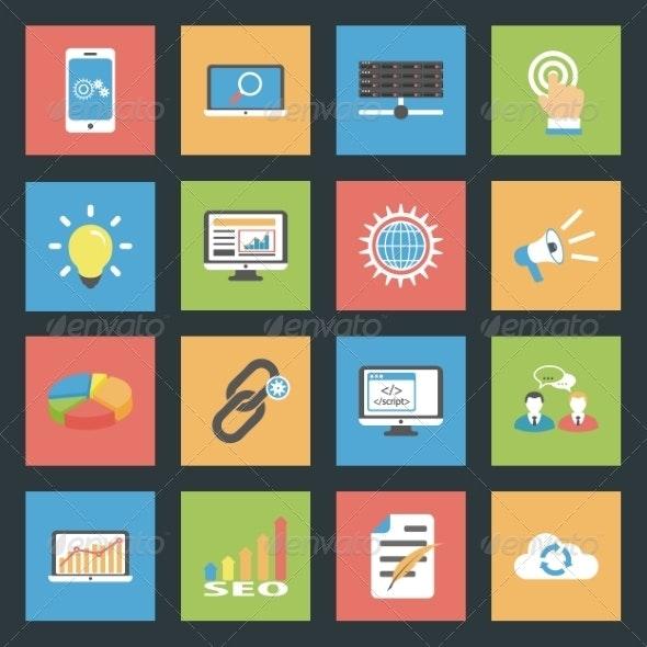 Seo Flat Icons Set - Miscellaneous Conceptual