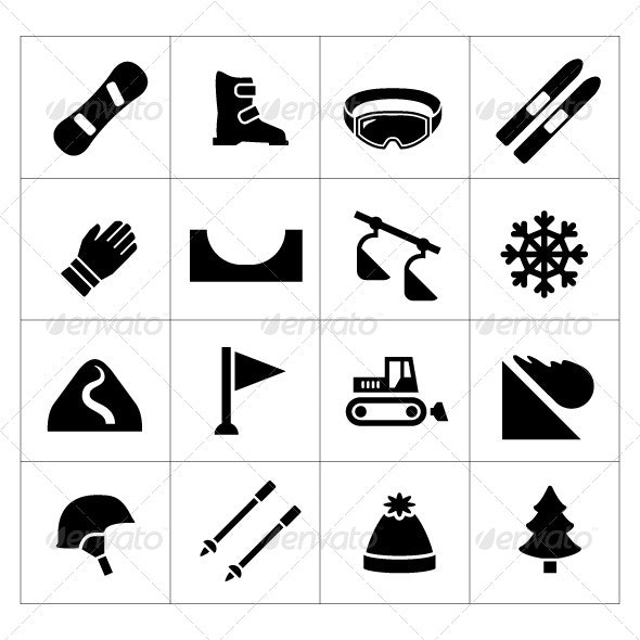 Set Icons of Skiing and Snowboarding - Man-made objects Objects