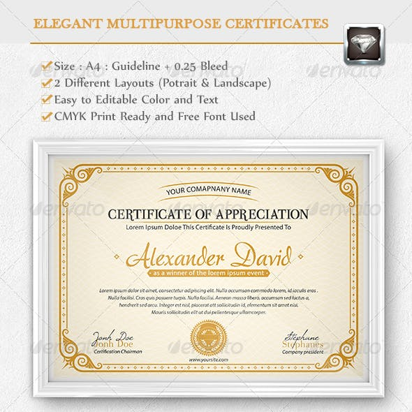 Elegant Multipurpose Certificates