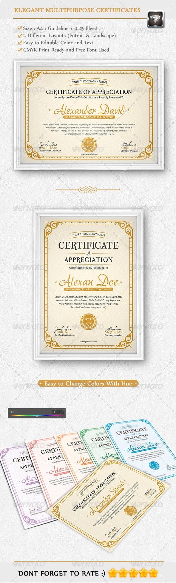 Elegant Multipurpose Certificates - Certificates Stationery