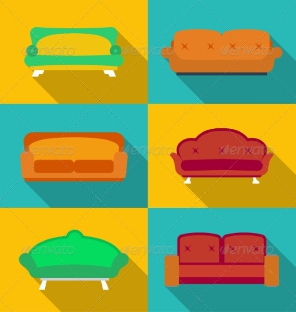 Set of Modern Sofa Icons - Man-made Objects Objects