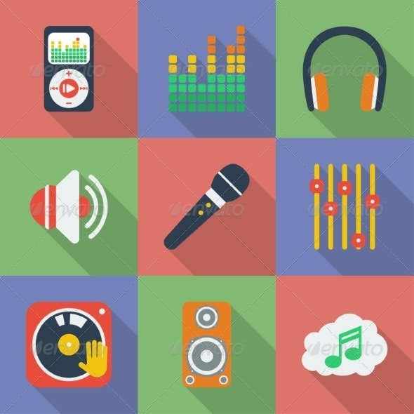 Set of Music Themed Icons - Web Elements Vectors