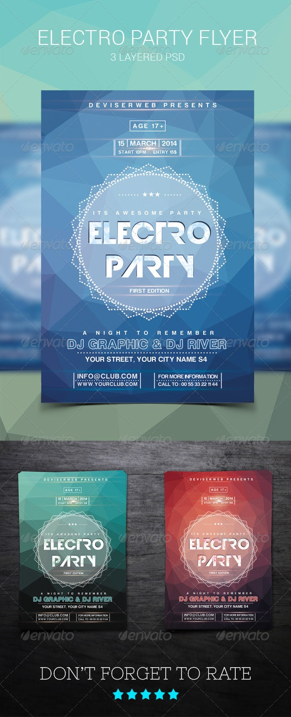 Modern Electro House Party Flyer - Clubs & Parties Events