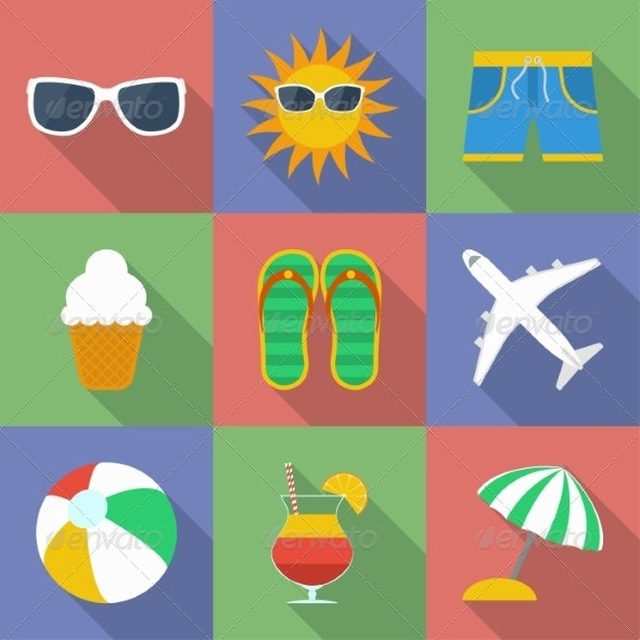 Set of Summer and Travel Icons - Travel Conceptual