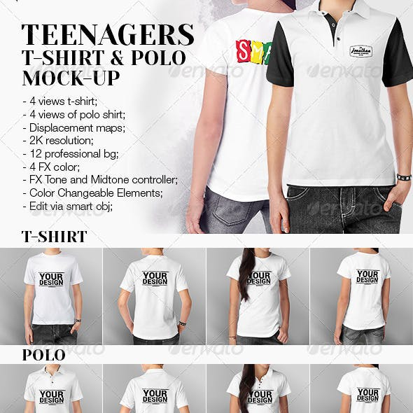 Teenagers T-Shirt and Polo Shirt Mock-up