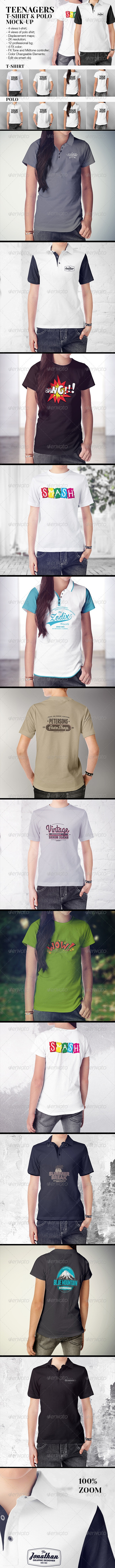 Teenagers T-Shirt and Polo Shirt Mock-up - T-shirts Apparel