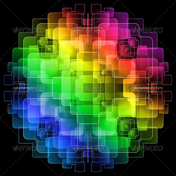 Background with Colorful Digital Screens