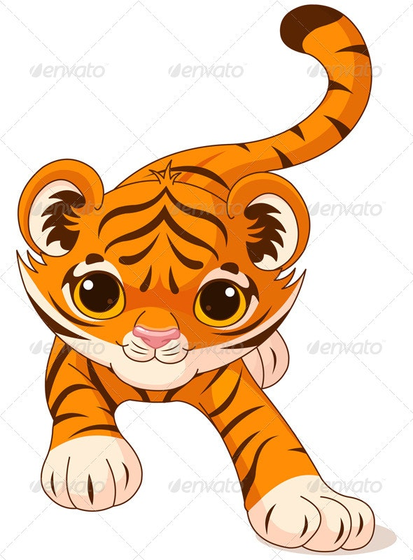 Crouching Baby Tiger - Animals Characters
