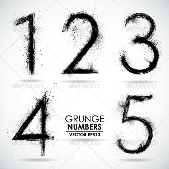 Vector Set Grunge Numbers - Part 1 - Web Elements Vectors