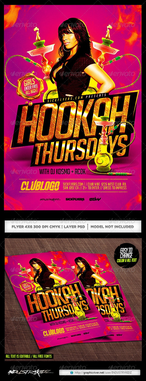 Hookah Lounge Flyer Template PSD - Clubs & Parties Events