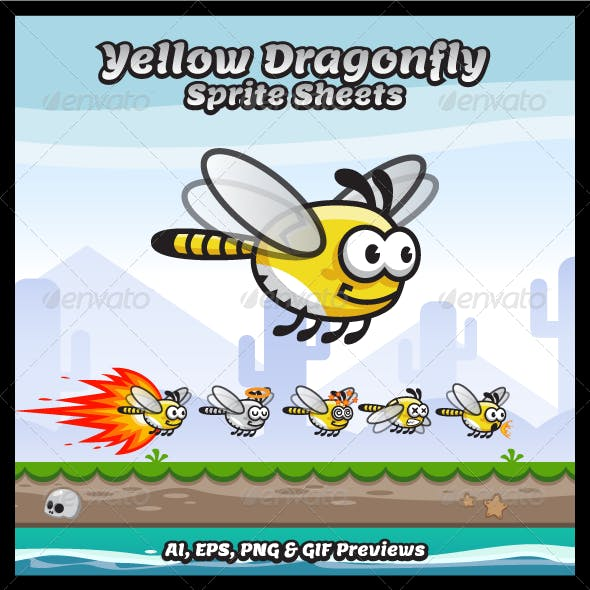 Yellow Dragonfly Sprite Sheets