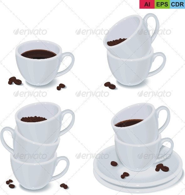 Set of Coffee Cups - Objects Vectors