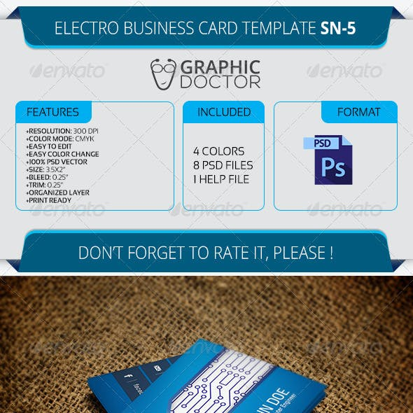 Electro Business Card Template SN-5
