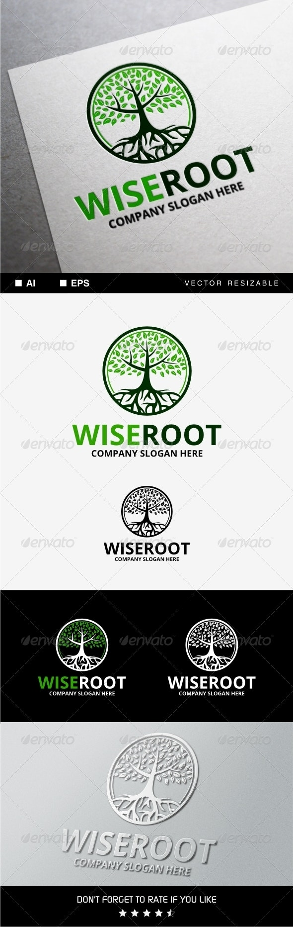 Wise Root Logo - Nature Logo Templates