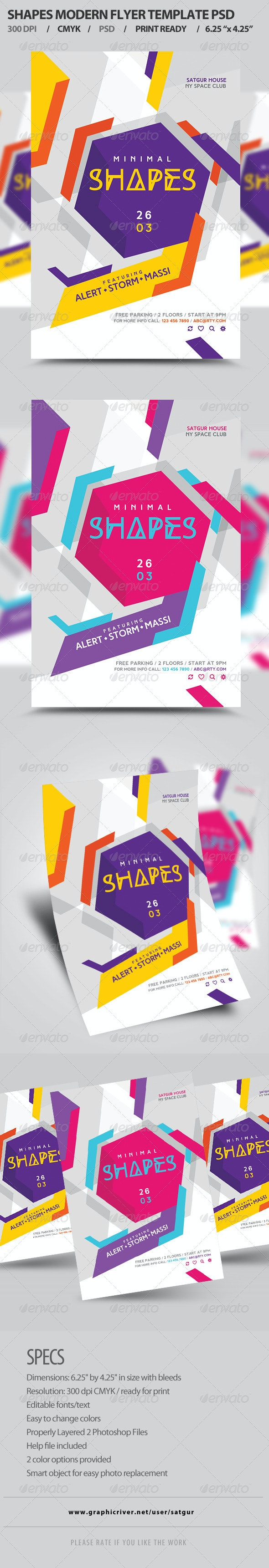 Shapes Flyer Template PSD - Clubs & Parties Events