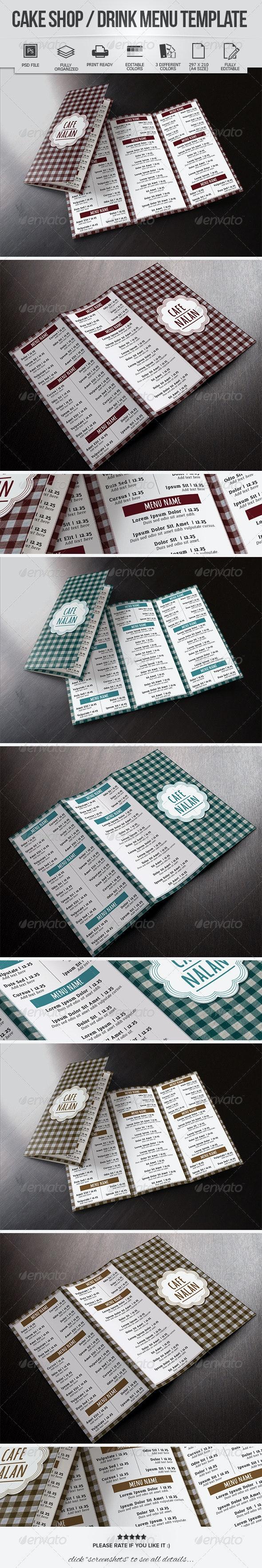 Cake Shop / Drink Menu Template - Food Menus Print Templates
