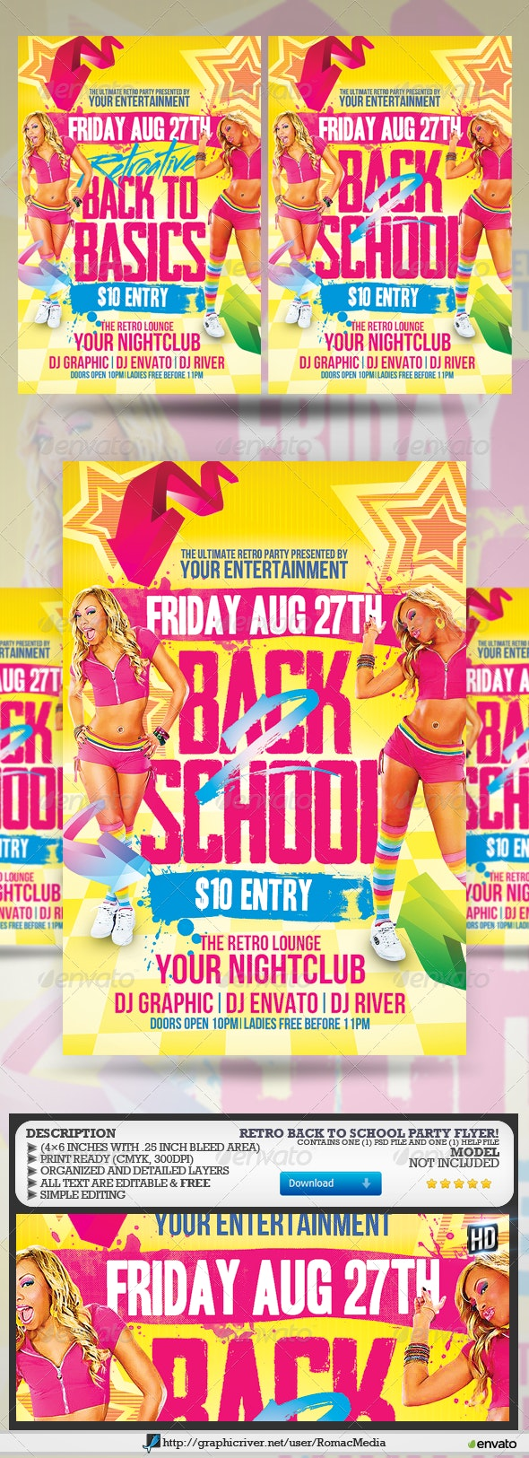 Retro Back to School Party Flyer - Clubs & Parties Events