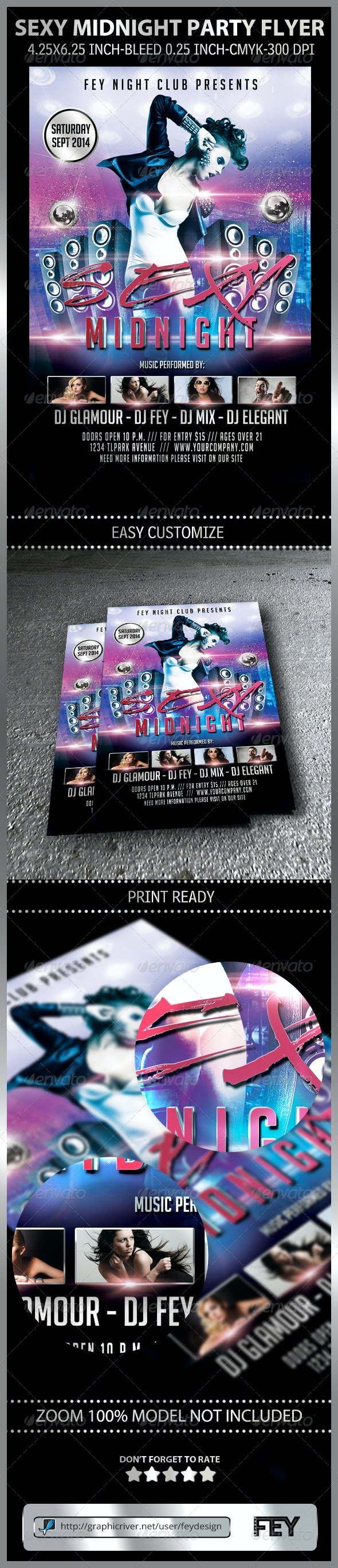 Sexy Midnight Party Flyer - Clubs & Parties Events