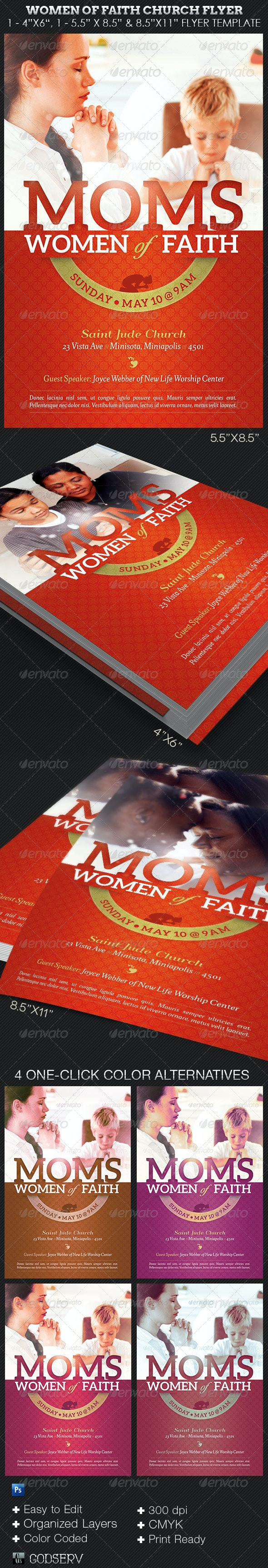 Women of Faith Church Flyer Photoshop Template - Church Flyers