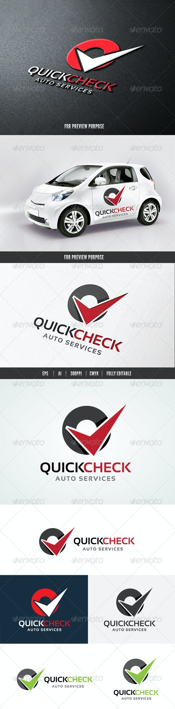 Quick Check Auto Services - Letters Logo Templates